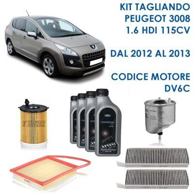 KIT TAGLIANDO PEUGEOT 3008 1,6 HDI 85KW 115CV 10/2012-10/2013 CODICE MOTORE DV6C