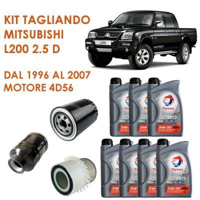 KIT TAGLIANDO MITSUBISHI L200 2,5 D 1996-2007 K64T MOT. 4D56 - 3 FILTRI E OLIO