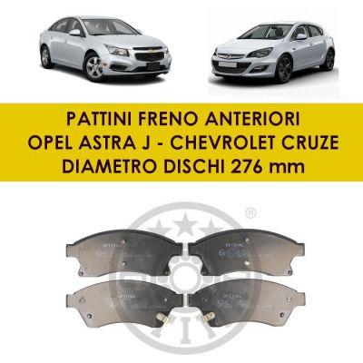 PATTINI PASTIGLIE FRENO ANT. OPEL ASTRA J CHEVROLET CRUZE 1.6 1.7 CDTI DAL 2009
