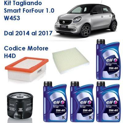KIT TAGLIANDO SMART FORFOUR 1,0 W453 H4D DAL 07/2014 AL 07/2017 - FILTRI E OLIO