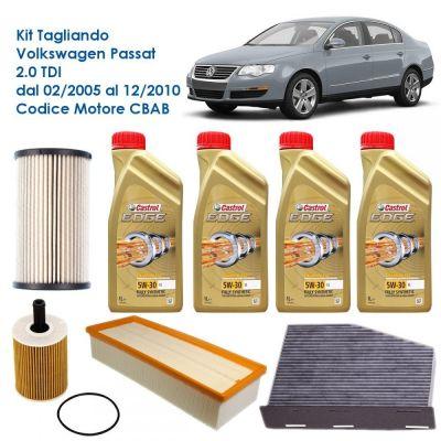 KIT TAGLIANDO VOLKSWAGEN VW PASSAT 3C 2.0 TDI DPF 140CV - CBAB 02/2005 - 12/2010