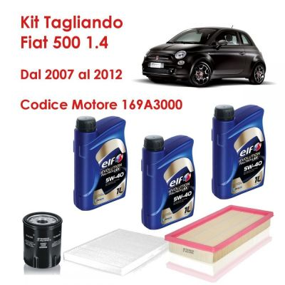 KIT TAGLIANDO FIAT 500 1.4 70KW 95CV 169A3000 2007-2016 - 3 FILTRI+OLIO