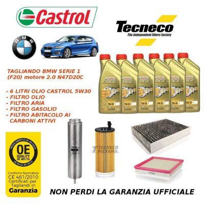 KIT TAGLIANDO BMW F20 2.0 120d, 118d, 116d KIT FILTRI + OLIO CASTROL N47D20C