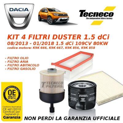 KIT TAGLIANDO 4 FILTRI DACIA DUSTER 1.5 dCi 109CV 80KW K9K 08/13>01/18 GS014389E