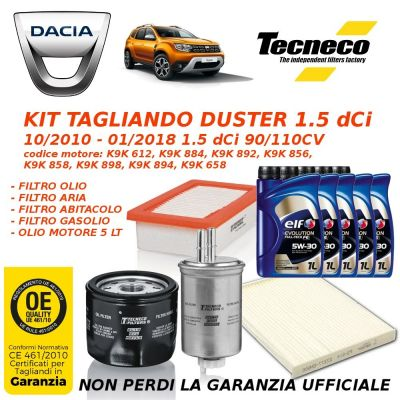 KIT TAGLIANDO DACIA DUSTER 1.5 dCi 90/110CV da 10/2010 a 01/2018 GS10852