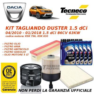 KIT TAGLIANDO + OLIO MOTORE DACIA DUSTER 1.5 dCi 86CV 63KW da 04/2010 a 01/2018