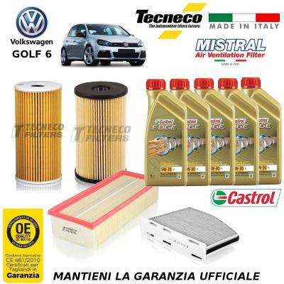 KIT TAGLIANDO VW GOLF VI 6 1.6 TDI 90/105CV 66/77 KW CV FILTRI +OLIO 02-09/11-12