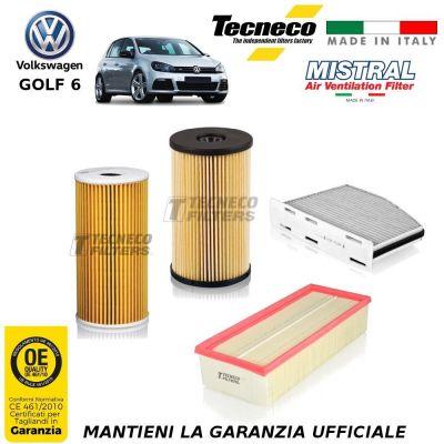 KIT TAGLIANDO 4 FILTRI VW GOLF VI 6 1.6 TDI 90/105CV 66/77 KW CV 02-09/11-12