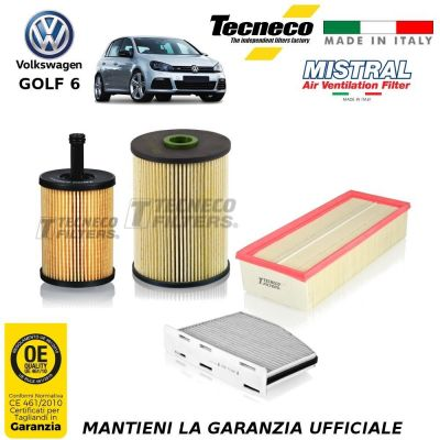KIT TAGLIANDO 4 FILTRI VW GOLF VI 6 2.0 TDI 136CV 100 KW CV 10/08-11/12 CBAA