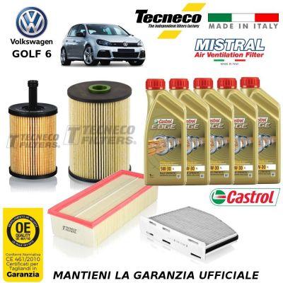 KIT TAGLIANDO VW GOLF VI 6 2.0 TDI 136 CV 100 KW CV FILTRI 10/08-11/12 CBAA