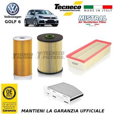 KIT TAGLIANDO 4 FILTRI VW GOLF VI 6 2.0 TDI 136CV 100KW 10/08-11/12 CFFA