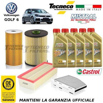 KIT TAGLIANDO VW GOLF VI 6 2.0 TDI 136 CV 100KW FILTRI +OLIO 10/08-11/12 CFFA