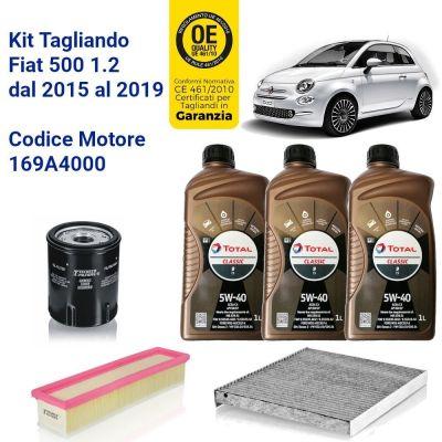 KIT TAGLIANDO 3 FILTRI E OLIO FIAT 500 1.2 2015 - 2019 51KW 69CV MOTORE 169A4000